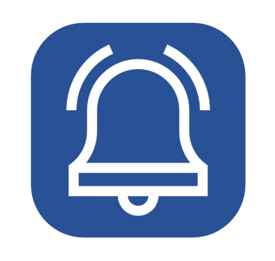 Icon with Alert Symbol in blue
