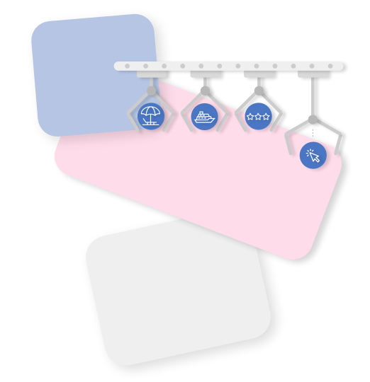 Machine symbol with blue, pink and white elements