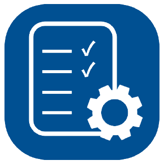 Task List with cogwheel icon in blue